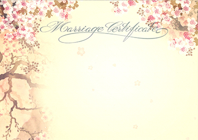 Marriage Certificate – Cherry blossom design in each top corner and down the left hand side.  The words Marriage Certificate are written in a decorative script.  Information on the certificate includes the names of the bride and groom, their dates and places of birth and the date of the wedding.