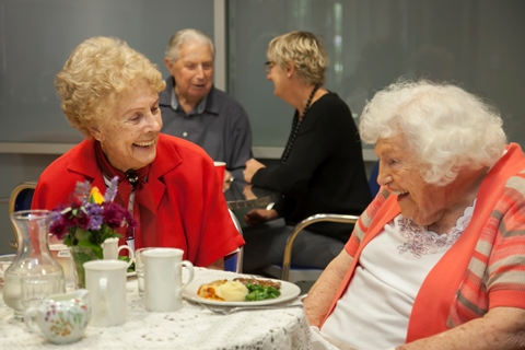 Seniors in residential care facility having a meal