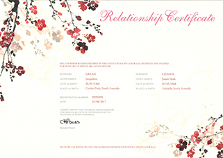 Relationship Certificate – Blossom branches top left and bottom right corners. The certificate title Relationship Register is in decorative script. Information on the certificate includes the parties names, their dates and places of birth and the date the relationship was registered.