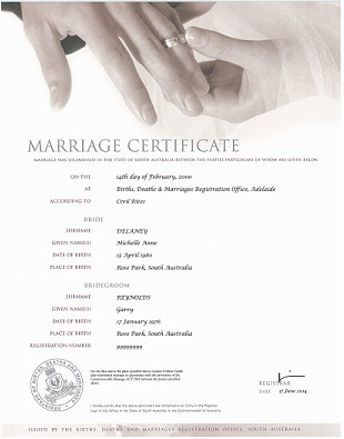 Marriage Certificate - Hands with ring