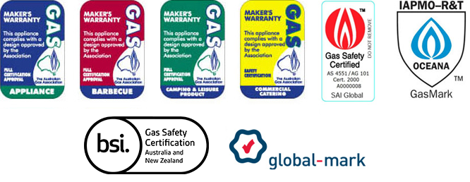 Example labels, including four Australian Gas Association maker's warranty labels, SAI Global label, IAMPO label, Vipac label and Global Mark label