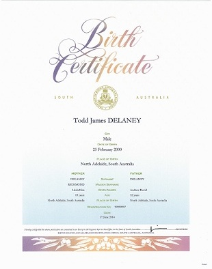 Birth Certificate – Blue gradient fading to white at the top, with a stripe of gumleaves across the bottom. It has a decorative script title and a South Australian government seal. The information on the certificate includes name of the child, sex, place of birth. Names and age of the parents. The Registration number and the date of the birth.