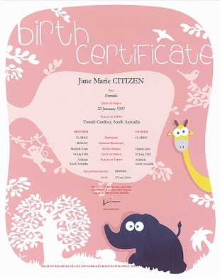 Birth Certificate - pink and white floral patterned background with lowercase title and a cartoon style giraffe and elephant on it. The information on the certificate includes name of the child, sex, place of birth. Names and age of the parents. The Registration number and the date of the birth.