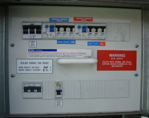 Switchboard with dual supply and solar array clearly labelled