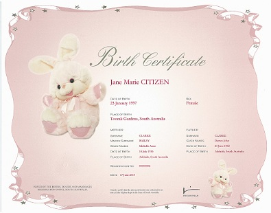 Birth Certificate – Pink gradient certificate with a white ribboned border with some very small stars along the border. There is a large bunny plush toy picture on the left and a smaller bunny on the bottom right. The information on the certificate includes name of the child, sex, place of birth. Names and age of the parents. The Registration number and the date of the birth.