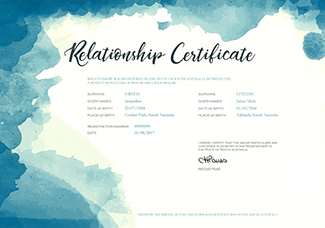 Relationship Certificate – a white certificate with blue abstract border on the top and left hand side that looks like water has splashed the page. The words Relationship Certificate in decorative script.  Information on the certificate includes the names of the parties, their dates and places of birth and the date the relationship was registered.