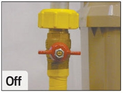 Image showing a natural gas meter level in the off position with the tap fins running horizontally