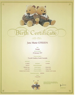Birth Certificate - Twin bears  a beige coloured certificate with two plush bears sitting back to back at the top of the certificate. The information on the certificate includes name of the child, sex, place of birth. Names and age of the parents. The Registration number and the date of the birth.