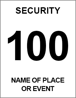 Security ID badge shows the words Security a three digit number and name of the event