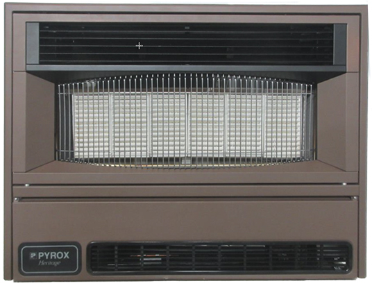 Front view of a Pyrox Heritage heater which can be distinguished by the textbadge on the lower left corner of the appliance.