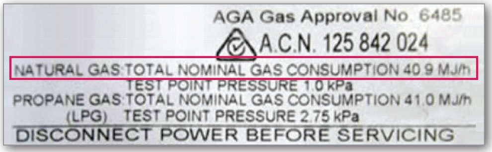 A gas label example that shows the total nominal gas consumption of 40.9MJ/h.