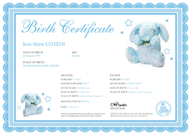 Birth Certificate – White certificate with a blue ribboned border with some very small stars along the border. There is a large bunny plush toy picture on the top right and a smaller bunny on the bottom left The information on the certificate includes name of the child, sex, place of birth. Names and age of the parents. The Registration number and the date of the birth.