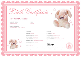 Birth Certificate – White certificate with a pink ribboned border with some very small stars along the border. There is a large pink bunny plush toy picture on the top right and a smaller bunny on the bottom left. The information on the certificate includes name of the child, sex, place of birth. Names and age of the parents. The Registration number and the date of the birth.