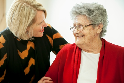 Senior person and carer