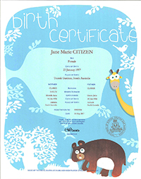 Birth Certificate – blue and white floral patterned background with lowercase title and a cartoon style giraffe and bear on it The information on the certificate includes name of the child, sex, place of birth. Names and age of the parents. The Registration number and the date of the birth.