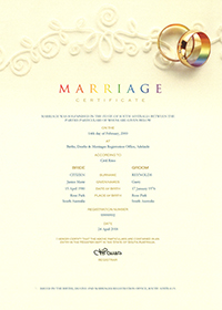 Commemorative marriage certificate with rainbow rings decoration