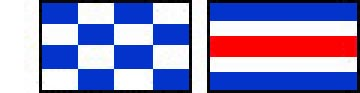 Signal flags of international distress signal on the left is a blue and white chequered flag and on the right a flag with a red stip in the middle with a white stripe either side and blue stripes either side of that on the top and bottom.