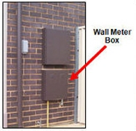 Image of a natural gas meter box against the wall of a house