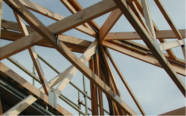 Prefabricated Timber Truss Framing Consists Of A Series Of Parallel Timber  Frames Where The Timber Members Are Connected By Rectangular Flat Steel  Plates ...