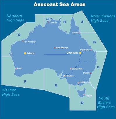Map of australia with austcoast broadcast  sea areas marked.  The south eastern coastal areas covering  South Australia are marked as area E and Victoria as area D New South Wales is marked  C. At the botton of WA the area is marked as Western high seas, the top of WA is marked northern high seas and the top of Queensland is marked as North eastern High Seas. Gladstone Q-land is marked as area B Cairns in Q-land is marked as area A. Darwin is area H, Port Hedland in |WA is area G Perth to the Great australian bight are in area F