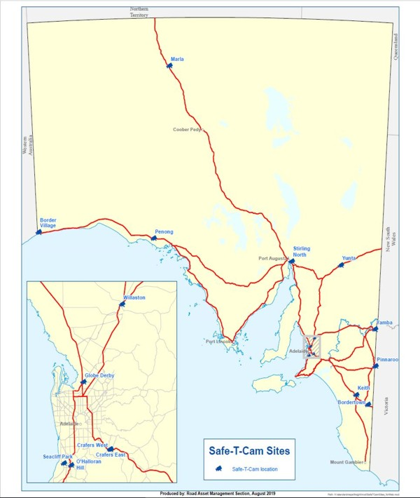 Map showing Safe-T-Cam Sites at Globe Derby, Willaston, Crafers, Border Village, Marla, Stirling North, Yunta, Yamba, Pinnaroo, Kieth, and Bordertown.
