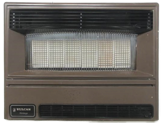 Front view of a Vulcan Heritage heater which can be distinguished by the textbadge on the lower left corner of the appliance.